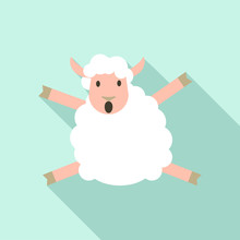Jumping Sheep Icon. Flat Illus...