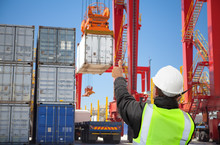 Transport Worker,manager Freight Forwarding At Container Terminal Working