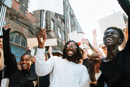 Fotografia, Obraz Ecstatic protesters at a demonstration