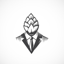 Premium Quality Beer Hops Label, Logo Or Illustration. Man In A Suit And Tie With A Hop Face And Head. Creative Concept Emblem. Isolated