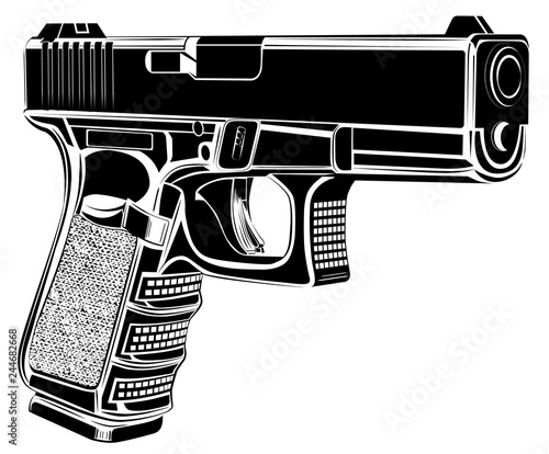 Pistol Glock gun vector illustration Canvas Print