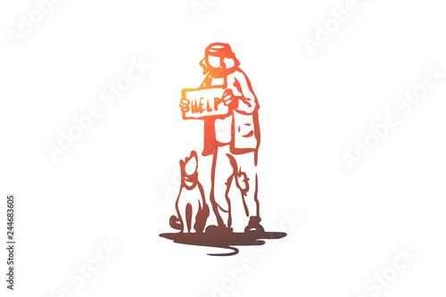 Beggar, dog, outdoor, poor, pet concept Wallpaper Mural