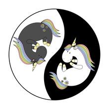 Unicorn In Yoga. Yin Yang Magic Cute Unicorn. Fashion Stickers Collection. Vector Illustration.