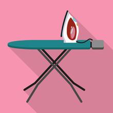 House Ironing Board Icon. Flat...