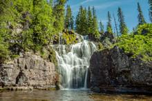 Beautiful Waterfall In Northern Sweden