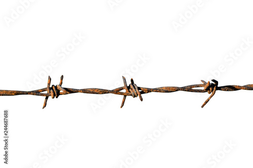 Photo barbed wire isolated