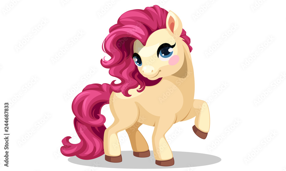 Fotografie, Obraz Beautiful little pony with beautiful pink hairstyle