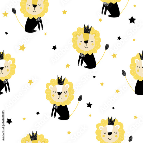 Kids seamless pattern with lions and stars. Trendy Scandinavian vector background. For printing on children's textiles, wrapping paper.