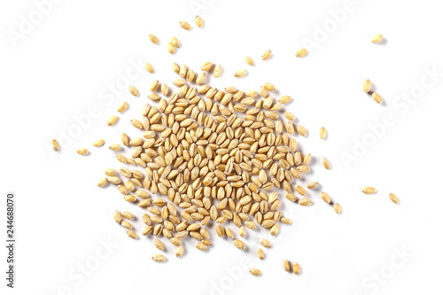Fényképezés  Wheat pile isolated on white background, top view