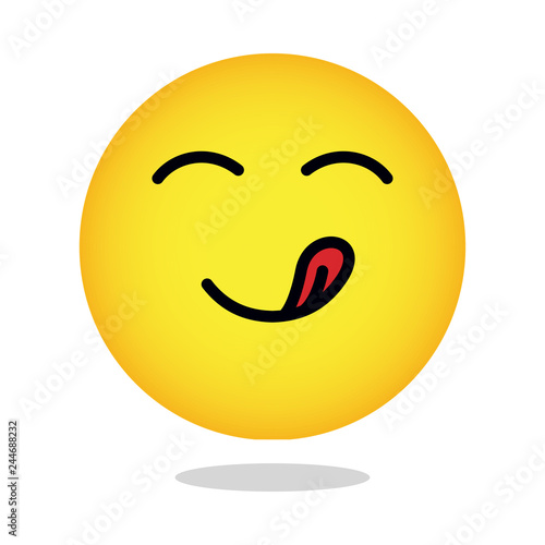 Yellow Yummy Smiley Emoticon Hungry Face Emoji With Mouth And