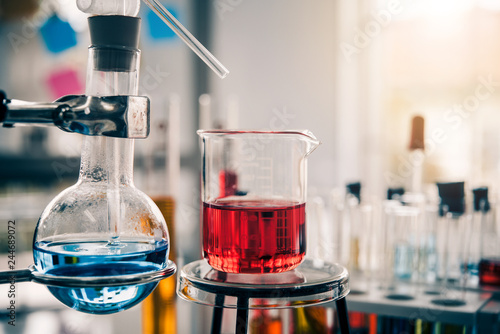 Test tube containing chemical liquid in laboratory, lab chemistry or science research and development concept.
