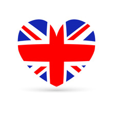 Amazing Design Of The British Flag In The Shape Of A Heart On A White Background