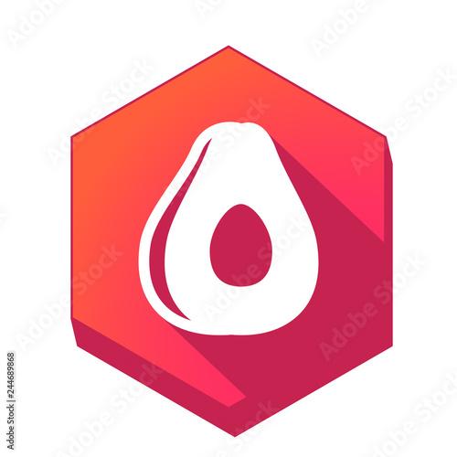 ikona z długim cieniem na tle sześcioboku
