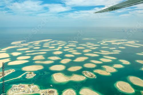 Aerial view of Dubai The World islands, United Arab Emirates