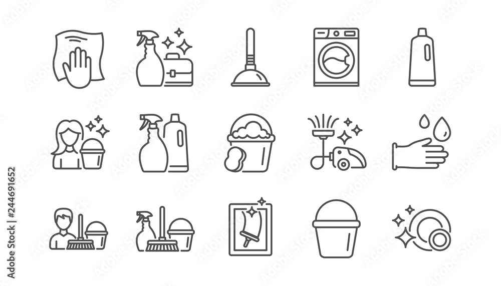 Fototapeta Cleaning line icons. Laundry, Window sponge and Vacuum cleaner. Washing machine linear icon set.  Vector