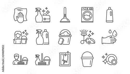 Fototapeta Cleaning line icons