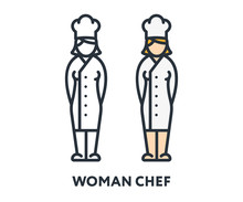 Female Chef Woman Cook Character Uniform Hat. Vector Flat Line Stroke Icon.
