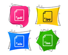 Download Document Icons. File Extensions Symbols. PDF, XLS, JPG And ISO Virtual Drive Signs. Geometric Colorful Tags. Banners With Flat Icons. Trendy Design. Vector