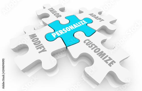 Photo Personalize Customize Unique Puzzle Pieces Words 3d Illustration