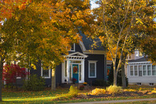 19th Century Wood House In Autumn