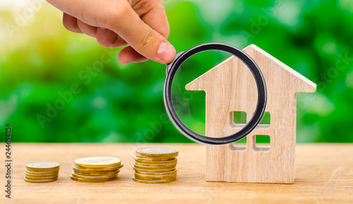 Fotografia  Stacks of coins and a wooden house
