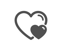 Couple Love Icon. Two Hearts Sign. Valentines Day Symbol. Quality Design Element. Classic Style Icon. Vector