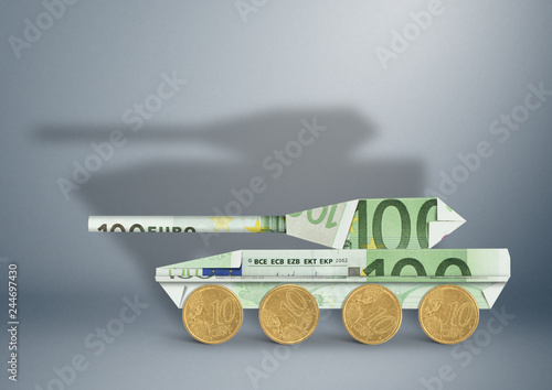Fotografija  military budget concept, banknotes as armored tank