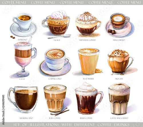Fotografia, Obraz Set with diferent coffee drinks for cafe or coffeehouse menu