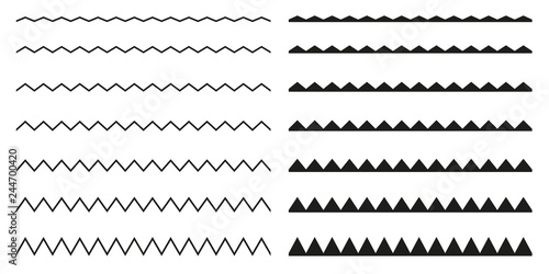 Set of seamless borders zigzag. Graphic design elements. Canvas