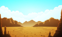Landscape Of Vast Desertic Plain Of Rocks And Sand. Blue Sky With Clouds And Mountains At Horizon. Vector Illustration.
