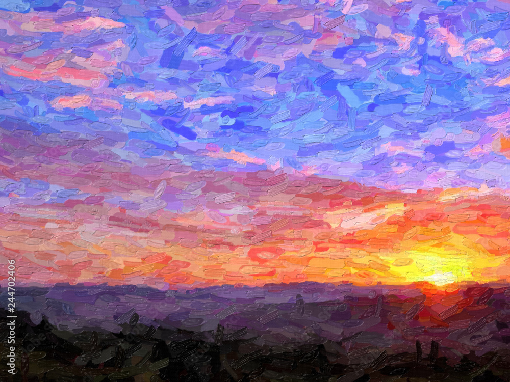 IMPRESSIONISM sunset in the mountains