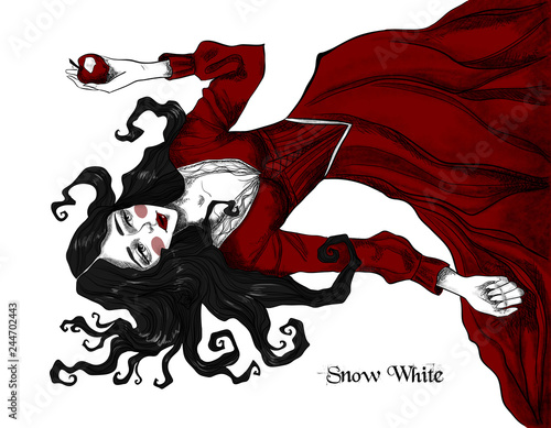 Snow White and a poisoned apple. Beautiful fairytale illustration on white isolated background Fotomurales