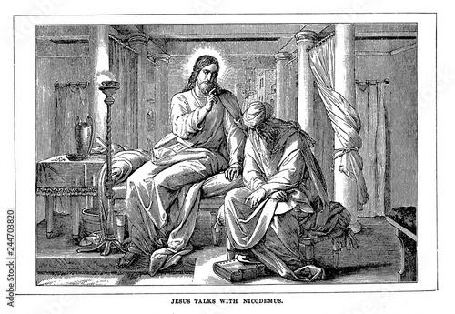 Jesus talks with nicodemus Canvas Print