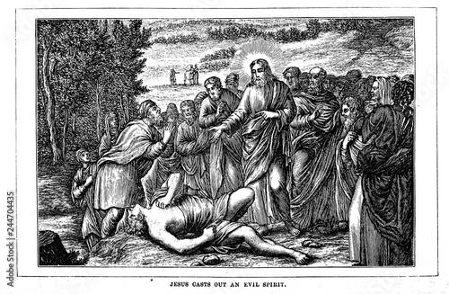 Jesus casts out an evil spirit Canvas Print