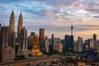 kUALA LUMPUR, MALAYSIA - AUGUST 31, 2018: Building at center of metropolis during sunset view.