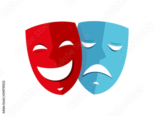 Obraz Happy and sad mask theater icon vector - fototapety do salonu