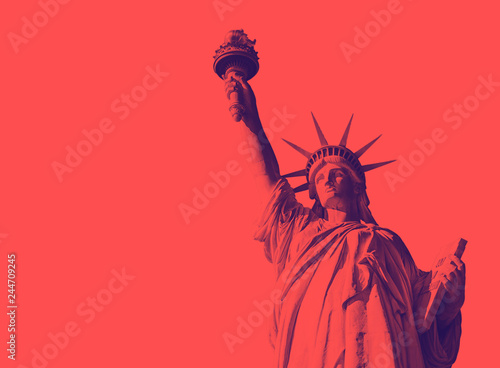 Bottom view of the famous Statue of Liberty, icon of freedom and of the United States Canvas Print