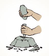 Vector Illustration. Primitive People Make Stone Tools