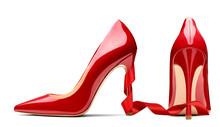 Red High Heel Footwear Ribbon Fashion Female Style