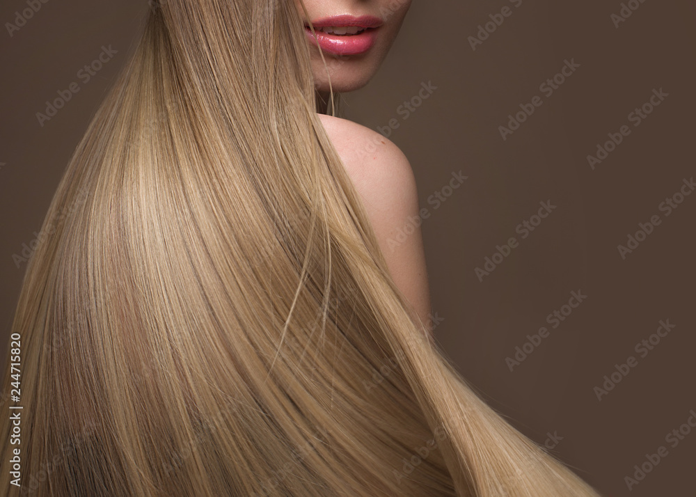 Fototapety, obrazy: Beautiful blond girl with a perfectly smooth hair, classic make-up. Beauty face
