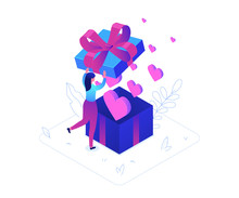 St Valentines Day - Modern Colorful Isometric Vector Illustration