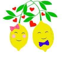 Vector Illustration Lemons Valentines Day