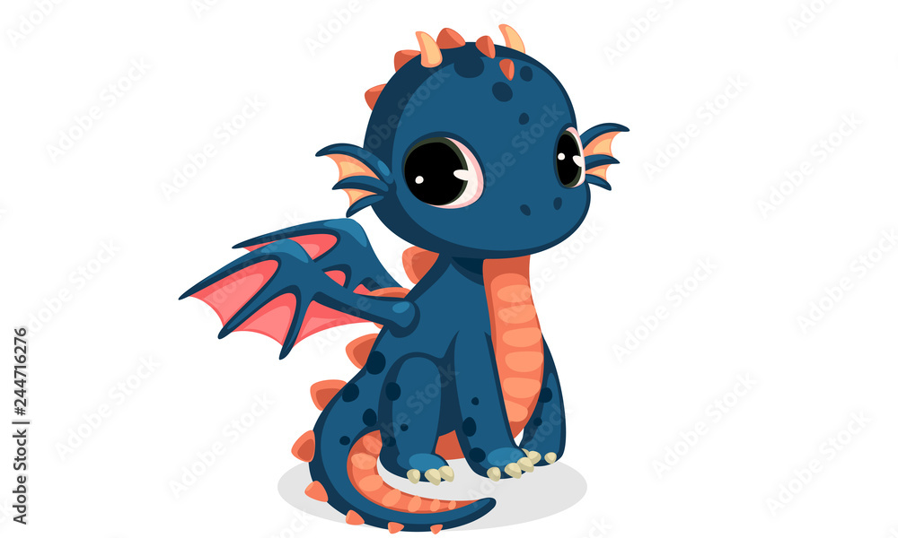 Fototapeta Cute dark blue baby dragon