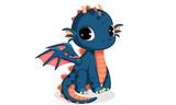 Fototapeta Dinusie - Cute dark blue baby dragon