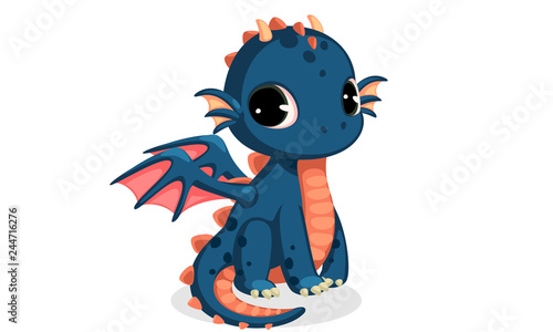Fotografie, Obraz Cute dark blue baby dragon