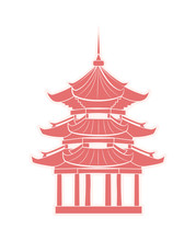 Chinese Temple With Pagoda Travel Sticker Isolated