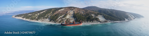 Photo GELENDZHIK, RUSSIA - JAN 19, 2018: The ship called Rio ran aground after a storm in the black sea