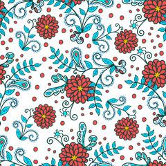 Seamless pattern, flower motive, folk art, hand drawn, white background, multi-colored, vector illustration