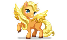 Cute Little Golden Unicorn With Golden Wings In Standing Pose Vector