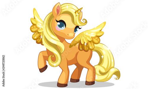 Fotografie, Obraz Cute little golden unicorn with golden wings in standing pose vector